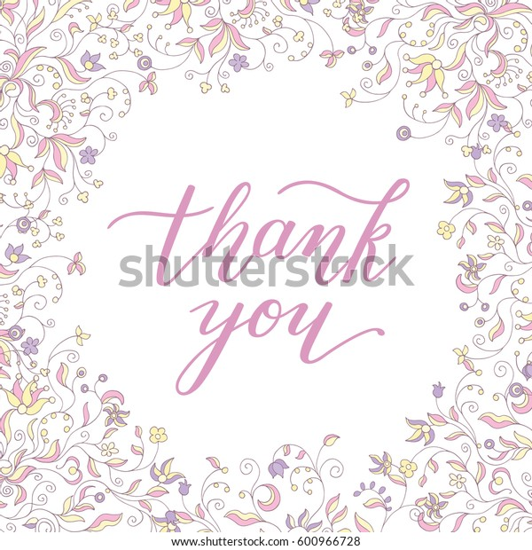 floral frame and hand lettering thank you