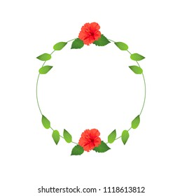 Floral Frame, Hibuscus Flowers, Leaves