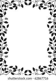 Floral frame with a holly branch. Vector illustration.
