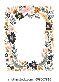 Floral Frame isolated on the white background. Cute flat floral wreath perfect for wedding invitations and birthday cards.