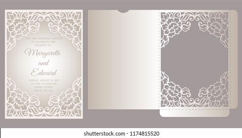 Floral frame laser cut wedding invitation envelope design. Cutting plotter template.
