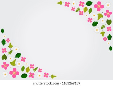 Floral frame made of white and pink flowers, green leaves on white background. Realistic. Illustration. Daisy background. Frame of flower buds.