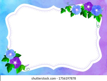 floral frame with morning-glory , called Asagao , and background is painted with watercolor