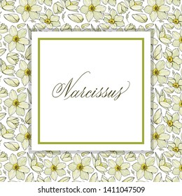 Floral frame with Narcissus. Floral greeting card or invitation.  Narcissus  hand written in copperplate script