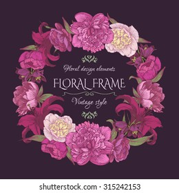 Floral frame with peonies and lilies. Vintage card in shabby chic style. Vector illustration.