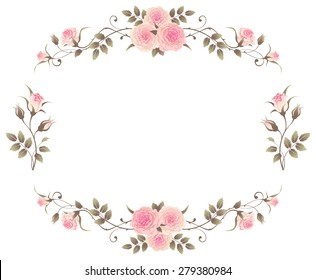 Floral frame with pink roses isolated on a white background. Vector design english roses elements. Beautiful floral vignettes.