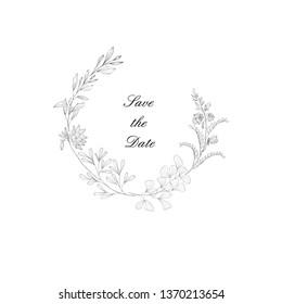 Floral frame with plant. Flower decoration for greeting card and monogram. Vintage botanical border. Line Art.