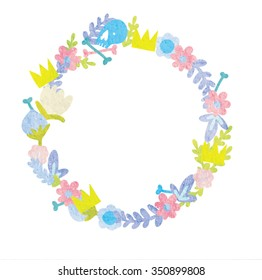 Floral Frame. Retro flowers arranged un a shape of the wreath perfect for wedding invitations and birthday cards