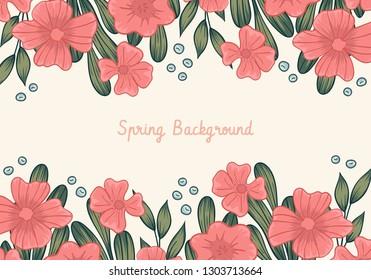 Floral frame spring background. Border flower and leaves. Vector illustration.