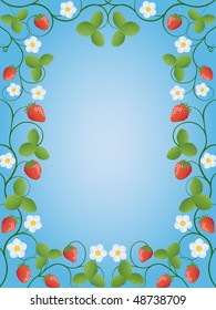Floral frame with a strawberry. Vector illustration.