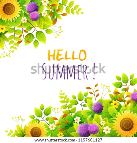Floral Frame Summer Flowers Border Green Stock Vector (Royalty Free ...