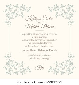 Floral frame. Template for greeting cards, invitations, menus. Graphic design page. Wedding invitation.