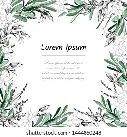 Floral frame for text from white and green leaves. Postcard for congratulations and invitations with flowers. Vector illustration