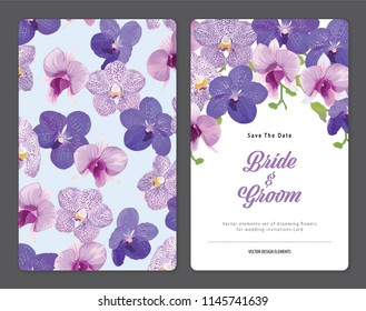 Floral frame with tropical orchid flowers background template. Vector set of blooming floral for holiday invitations, greeting card and fashion design.