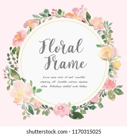 Floral frame vector. Beautiful wreath. Elegant floral collection with isolated blue,pink leaves and flowers, hand drawn watercolor. Design for invitation, wedding or greeting cards