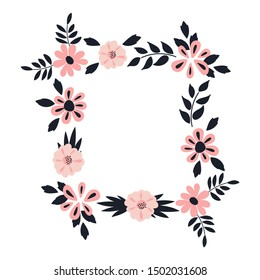 Floral frame . Vector elegant floral arrangement with blue leaves and pink flowers. Design for invitation, wedding, greeting cards, posters, prints, wedding