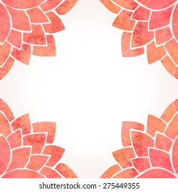 Floral frame with watercolor red lotus flowers. Oriental chinese, japanase or indian background. Flower pattern border on white background. Vector illustration