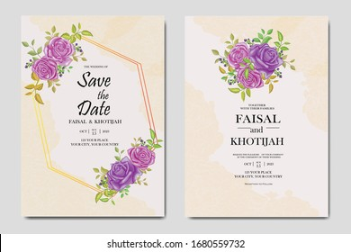 Floral frame wedding card invitation with purple rose