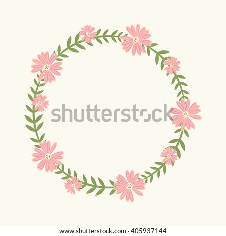 Floral Frame Wedding Invitations Birthday Cards Stock Vector