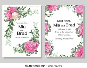 Floral frame for wedding invitations. White and pink peonies, eucalyptus, green plants and leaves. Template for a greeting card.