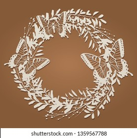 Floral frame a wreath with butterflies for laser cutting. Vintage leaf border, antique style whirlwind, decorative element design for wedding and festive design. Label, card, invitation, decoration
