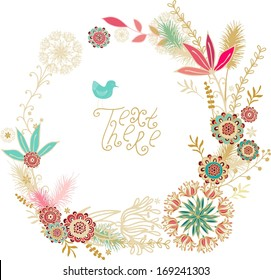 Floral frame, floral wreath  with summer flowers on white background