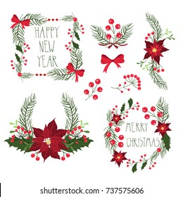Floral frames for Christmas holiday cards with flowers and berries. Vector Illustration, isolated on white background.