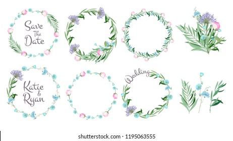 Floral frames. Circle shapes with flowers branches decorative elements simple leaf greeting cards layout wreath vector set. Floral wreath decorative, frame decoration for wedding illustration