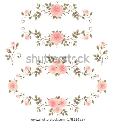 Floral Frames Pink Roses Isolated On Stock Vector (Royalty Free ...