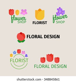 Floral and gardening logos. Flower shop and florist design icons. Vector illustration.