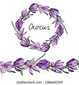 Floral garland. Endless horizontal brush. Endless horizontal border. Crocus
