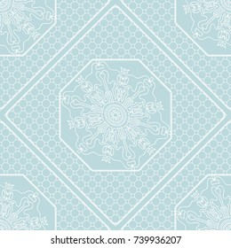 floral geometric lace ornament on blue background. Seamless vector illustration. For Fashion Background, Wallpaper, Home Decor, Interior Design