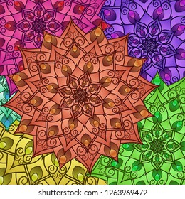 Floral geometric pattern of drawing mandala. Bright decorative multicolored background for your design. For fabric, bandanas, pillowcases with a print. Vector graphics