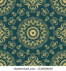 Floral Geometric Pattern with hand-drawing Mandala. Vector super illustration. For fabric, textile, bandana, scarg, ornament print