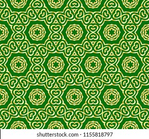 Floral Geometric pattern. Seamless gold texture on green color background. Element for design. Vector illustration