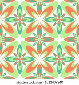 Floral geometric portuguese azulejos tiles vector seamless pattern. Carpet print design. Ethnic geometric floral ornament. Arabesque quatrefoil flowers seamless background. Ceramic tile pattern.
