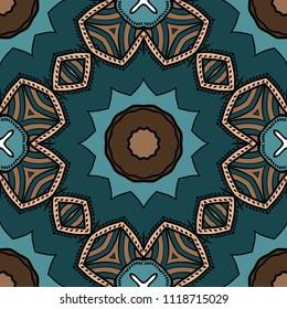 Floral Geometric seamless pattern. Decorative art deco style. Vector illustration for design, scrapbooking, fashion print
