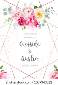 Floral geometric vector design frame. Pink hydrangea, red rose, camellia, ranunculus, eucalyptus and greenery bouquets. Spring wedding flowers. Gold line banner. All elements are isolated and editable