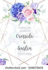 Floral geometric vector design frame.Pink rose, blue hydrangea, purple carnation,iris,eucalyptus, greenery. Spring wedding card. Art deco style.Gold line art with holographic marbled texture.Editable.