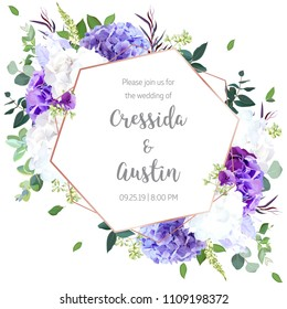 Floral geometric vector design frame.Violet and white hydrangea, purple iris, seeded eucalyptus, agonis, greenery. Wedding card. Art deco style. Gold line art. All elements are isolated and editable