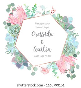 Floral geometrical vector design frame. Blue and mint echeveria succulent, pink protea, rose, eucalyptus, greenery. Wedding card. Art deco style. Gold line art. All elements are isolated and editable