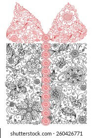 Floral gift. Illustration with abstract floral elements and patterns for your design isolated on white background.
