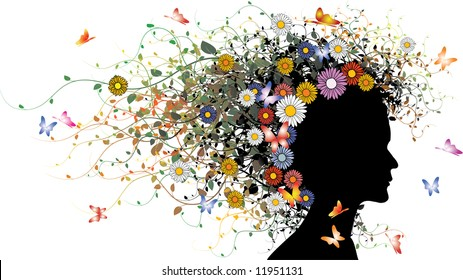 Floral girl silhouette - colored version with flowers and butterflies