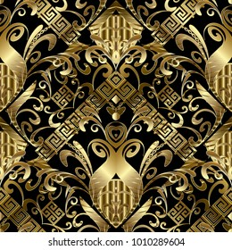 Floral gold 3d seamless pattern. Vector damask background with hand drawn flowers, leaves, stripes, borders, greek key, meander ornaments. Ornate design  for fabric, prints, wallpapers