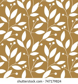 Floral Gold Seamless Pattern with Leaves for Wallpaper, Greeting Card, Gift Box, Textile Printing. Vector Christmas Background.