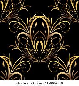 Floral golden seamless pattern