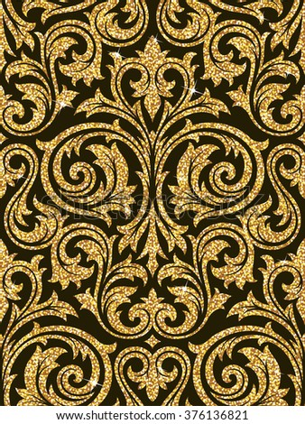 Floral Golden Wallpaper Stock Vector Royalty Free 376136821