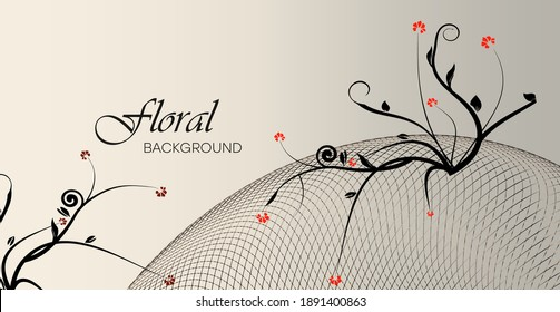 Floral gradient background with patterns and dynamic lines. Romantic botanical pattern from flowers. Color illustration vector graphic template for cards, posters, exercise books.