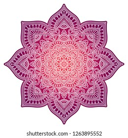 Floral gradient mandala in pink color. Circle ethnic ornament. Hand drawn traditional indian round element. Spiritual meditation yoga henna theme. Unique print. Template