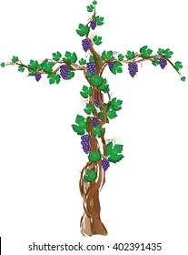 Floral grapevine cross, grape clusters on a vine tree in a shape of a cross. Christian religious graphic element with copy space for text.